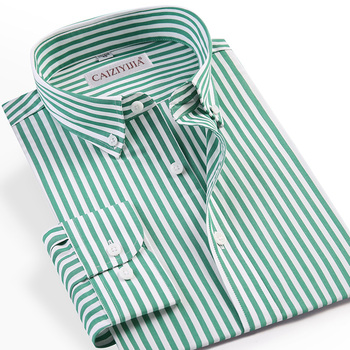 Men's Long Sleeve Standard-fit Pinpoint Striped Dress Shirt Pocket-less Design Casual Button Down Easy-care Cotton Shirts 1