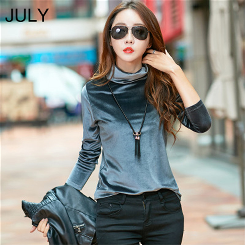 Gold Velvet Women T-shirts Tops High Collar Long Sleeve Solid Color Bottoming Ladies Top  Winter New Fashion T Shirt S-3XL