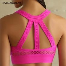 Pink Seamless Sports Bra High Impact Strappy Gym Tops Women Brassiere Yoga Fitne