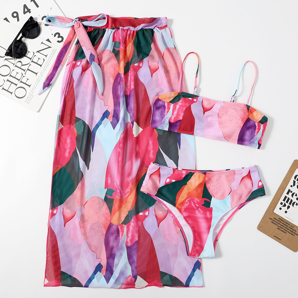 New Printing Split Swimsuit Blouse Mesh Modest Clothing Women Triangle Muslim Burkini Swim Suit Women Swimwear 3 Pieces