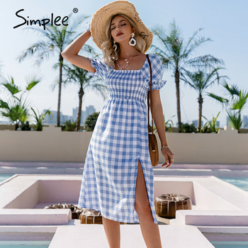 Simplee Blue square collar plaid women dress Summer A-line high waist puff sleeve dress Elegant Mid-length short-sleeved dress 1