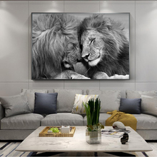Nordic Black African Lions Canvas Paintings On the Wall Art Posters And Prints Lion Head To Head Art Pictures Home Decoration футболка black the head black head black