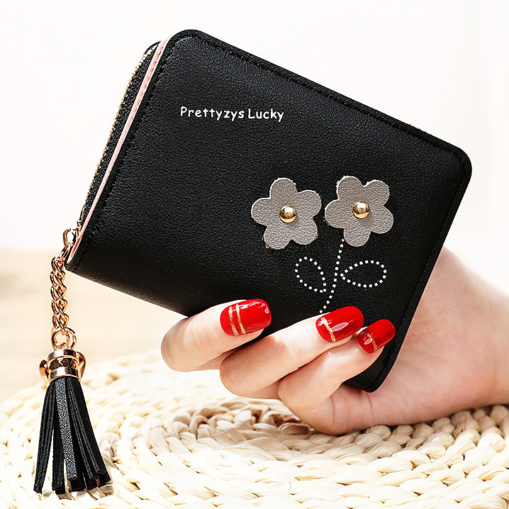 Flower Tassel Zipper Women Wallet Leather Short Coin Purse Cards Holder Money Bags Mini Wallet Flower Wallets Girls Carteira