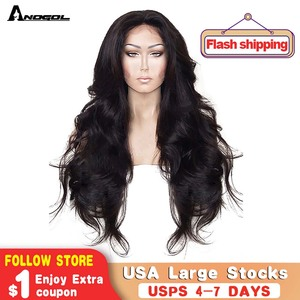 Image 1 - Anogol High Temperature Fiber Hair Natural Hairline Glueless Long Body Wave 1B Black Synthetic Lace Front Wig with Middle Part
