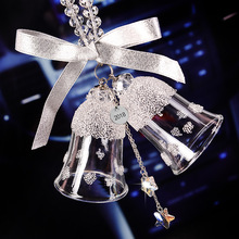 Christmas double bell crystal pendant car rear view mirror decoration ornaments room creative gifts