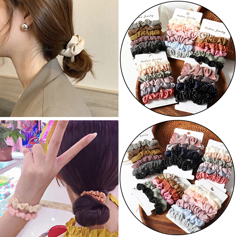 4-10pcs /Set Scrunchie Hair Ring Candy Color Hair Ties Rope Winter Women Ponytail Holder Hair Accessories Girls Hairband Gifts