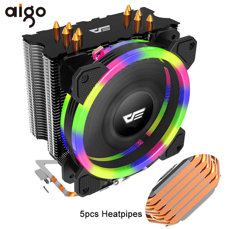 Aigo 5 Heatpipes CPU Cooler Radiator LED RGB DP Mulai dari 280W Wastafel Panas AMD Intel Diam 120 Mm 4Pin PC pendingin CPU Cooler Heatsink Fan