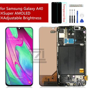 Image 1 - Super AMOLED For Samsung A40 LCD A405 LCD display touch Screen Digitizer Assembly with frame a40 screen replacement repair parts
