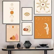 Arte moderna decoração para casa estilo boho adivinhação cartaz da parede arte da lona pintura abstrata lua sol olho cartazes e impressões sem moldura