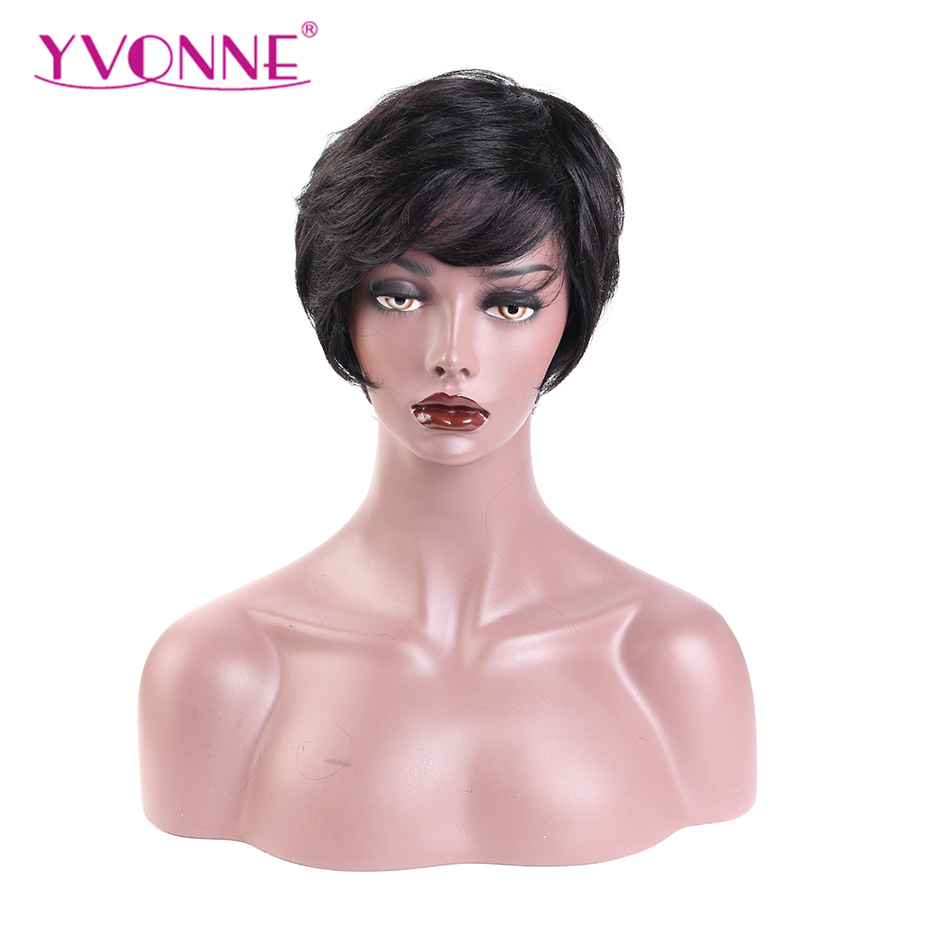 YVONNE Short Wig With Bangs Brazilian Virgin Hair Natural Wave Pixie Cut Wig For Women Machine Made Wigs With Natural Color