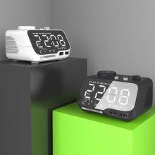 Digital alarm clock bluetooth speaker fm radio temperature snooze