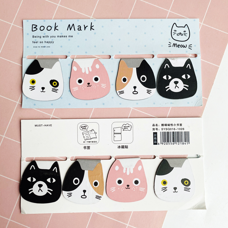 4pcs/Set Kawaii Meow Cat Magnetic Bookmarks Books Marker Of Page Stationery School Office Supply Student Prize