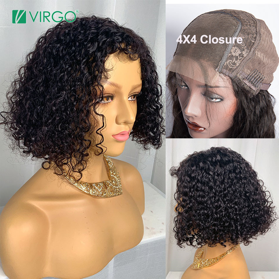 Virgo 4x4 Loose Wave Closure Wig Brazilian Bob Wig Lace Closure Wig Human Hair Wigs For Black Women 150% Density Remy Hair