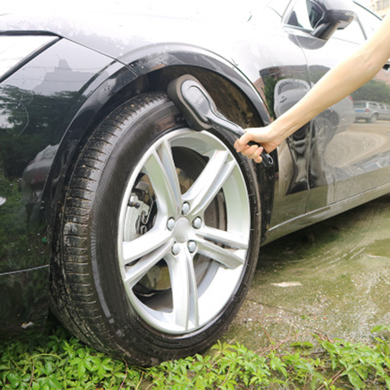 Car Sponge Tire Brush Wheel Waxing Polishing Washing Cleaning ABS Handle Radius Brand New