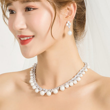 WEIMANJINGDIAN Cubic Zirconia and Shell Pearl Necklace and Earring Bridal Wedding Set Bridal Bridesmaid Jewelry