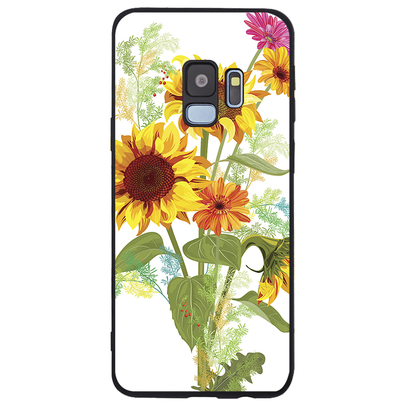 Beauty Yellow Sunflower Luxury Cover Soft Silicone TPU Black Phone Case For Samsung Galaxy S6 S7 EDGE S8 S9 S10 PLUS NOTE 8 9