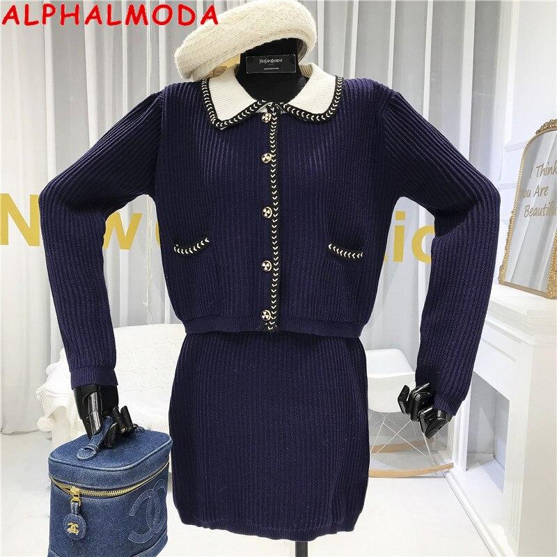 ALPHALMODA New Single Breasted Knit Jumper + Mini Skirt Women Retro 2pcs Clothing Set Peter Pan Collar Jacket Skirts 2pcs Suit