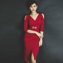 Women Half Sleeve Corset Wrap Red Dress Ladies Midi Bodycon Korean Plus Size Fall 2019 Autumn Winter Off Shoulder