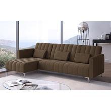 Home-Innovation Sofa chaise longue Milano de 267cm, convertible en cama, reversible, marrón a rayas.