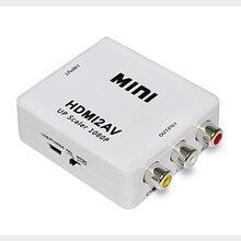 HDMI ל rca AV CVSB L/R וידאו AV/RCA CVBS מתאם מיני HDMI2AV וידאו ממיר תיבת מחשב HD 1080P תמיכת NTSC PAL פלט חמה