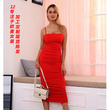 2021 explosions European and American women's cross-border autumn and winter suspenders fold hip sexy dress