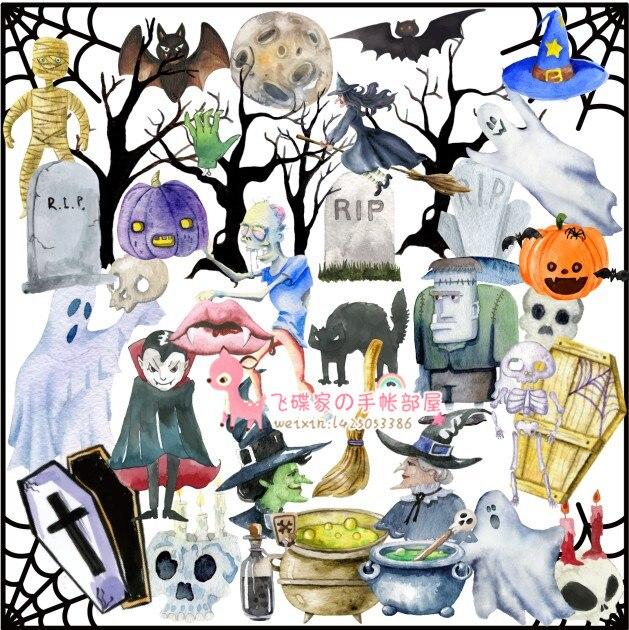 42pcs Cartoon Halloween, Vampires, Witches, Castles, Zombies, Dead Trees, Pumpkins, Bats, Spider Webs Of Decoration Stickers