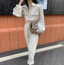 Wide Leg Jumpsuit Female Summer Spring 2020 Corduroy Jumpsuits Romper Women High Fashion Button Jumpsuit Female Casual Overalls(China)