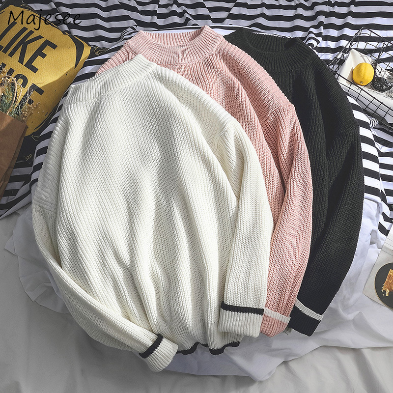 Men Sweater Winter Warm Korean Clothes Solid Plus Size Fashion O-neck Casual Pullovers Mens Sweaters Computer Knitted White Tops