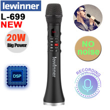 Lewinner L-699 Professional Karaoke Microphone Wireless Speaker Portable Bluetooth microphone for phone support record TF play