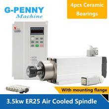 جديد وصول! 3.5kw ER25 مبرد هواء لمحرك المغزل 220 فولت 380 فولت السيراميك الكرات 0.01 مللي متر الدقة و 3.7kw فولنغ العاكس VFD