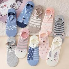 цена socks Woman korean cute cartoon pig puppy rabbit stereo animal socks kawaii fox panda cat socks funny girl invisible ankle socks