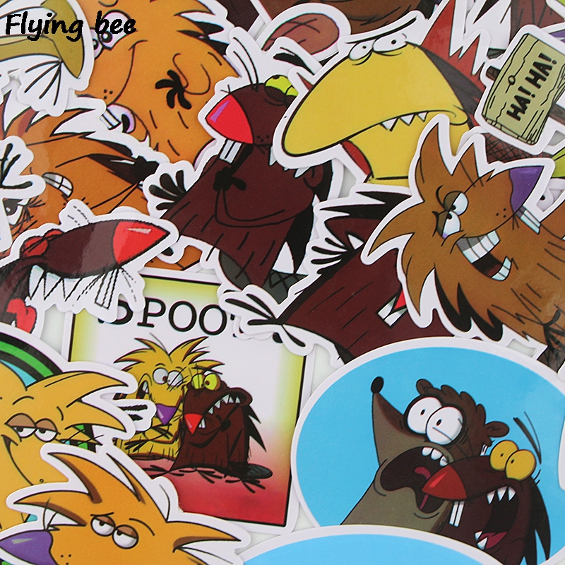 20 Flyingbee 20 pcs The Angry Beaver Sticker funny cute Stickers for DIY Luggage Laptop Skateboard Car Bicycle Stickers X0350 (2)