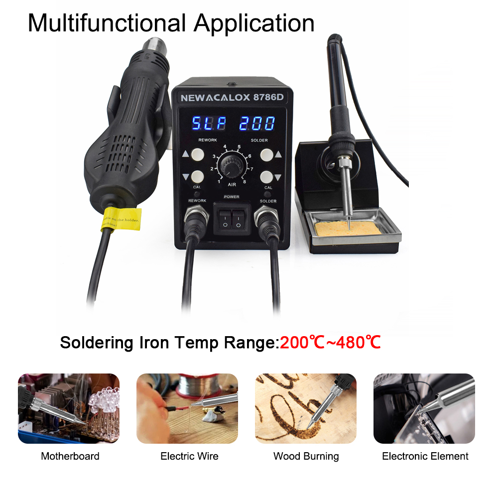 Soldering Station Set Digital NEWACALOX 1 SMD 8786D Iron 878 Rework In 750W Tool 2 PCB Repair Soldering Blue Desoldering Welding