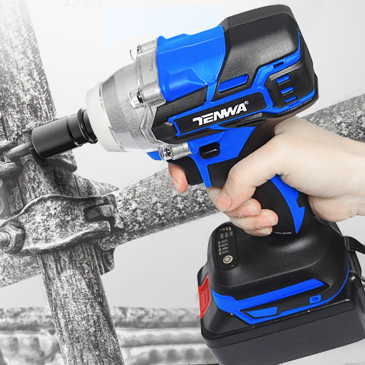 Image 5 - TENWA Brushless Electric Wrench 21V Impact Wrench Socket   4000mAh Li Battery Hand Drill Installation Power Tools-in Electric Wrenches from Tools on