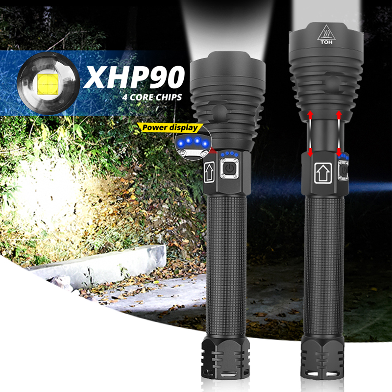 260000LM Brightest XHP90 LED Flashlight XHP70.2 Powerful Waterproof LED Torch Use 18650 Battery USB Rechargeable For Camping