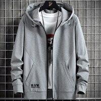 Spring Autumn Men's Zip Up Hoodie Coats Streetwear Black Grey Hooded Loose Sweatshirts Male Cotton Casual Tops Plus Size 8XL