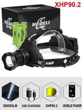 300000 glare xhp90.2 led headlight xhp90 high power head lamp torch usb 18650 rechargeable xhp70 head light xhp50 zoom headlamp