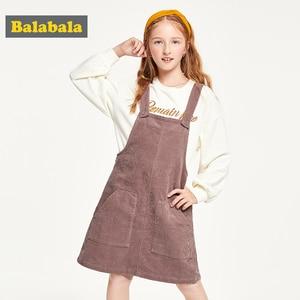 Image 3 - Balabala детская одежда, платье для девочек, хлопковое платье, новинка 2019, осеннее платье, вельветовое платье на бретельках для принцессы