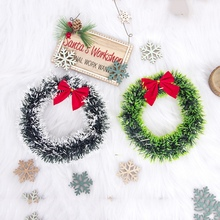 16CM Bow Artificial Garlands Christmas Wreath Door Hanging Window Decoration Vianocne Dekoracie Kerstkransen Flower