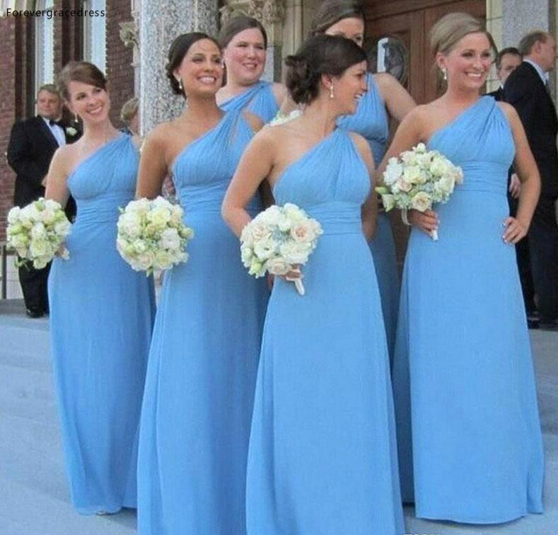 Cheap Sky Blue Chiffon Bridesmaid Dress One Shoulder Garden Country Formal Wedding Party Guest Maid Of Honor Gown Plus Size