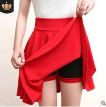 Plus Size Mini Shorts Skirts Women 2020 Casual A-line High Waist Pleated Skirt Female School Girl Skater Skirt Black Blue LM55(China)