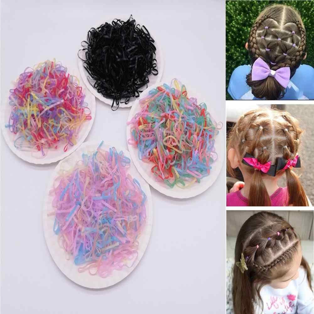 200/1000 шт милые цветные кольца для девочек, Одноразовые эластичные резинки для волос, резинка для хвоста, резинки для волос, Детские аксессуары для волос