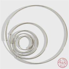Простые круглые серьги гвоздики из стерлингового серебра 925