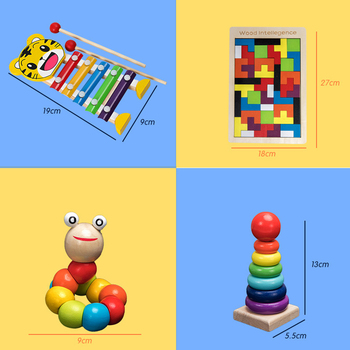 Kids Montessori Wooden Toys Rainbow Blocks Kid Learning Toy Baby Music Rattles Graphic Colorful Wooden Blocks Educational Toy 4
