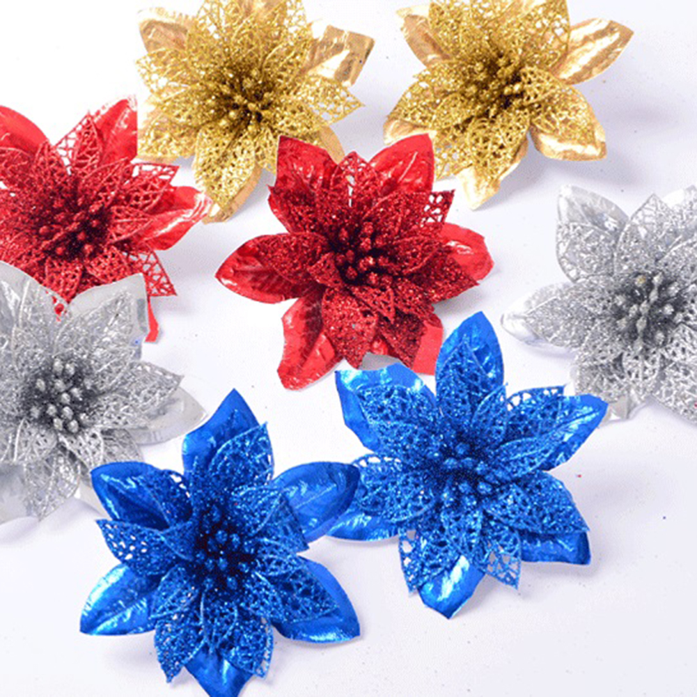 Party Decoration DIY Poinsettia Fake Flower Christmas Decor Artificial Flowers