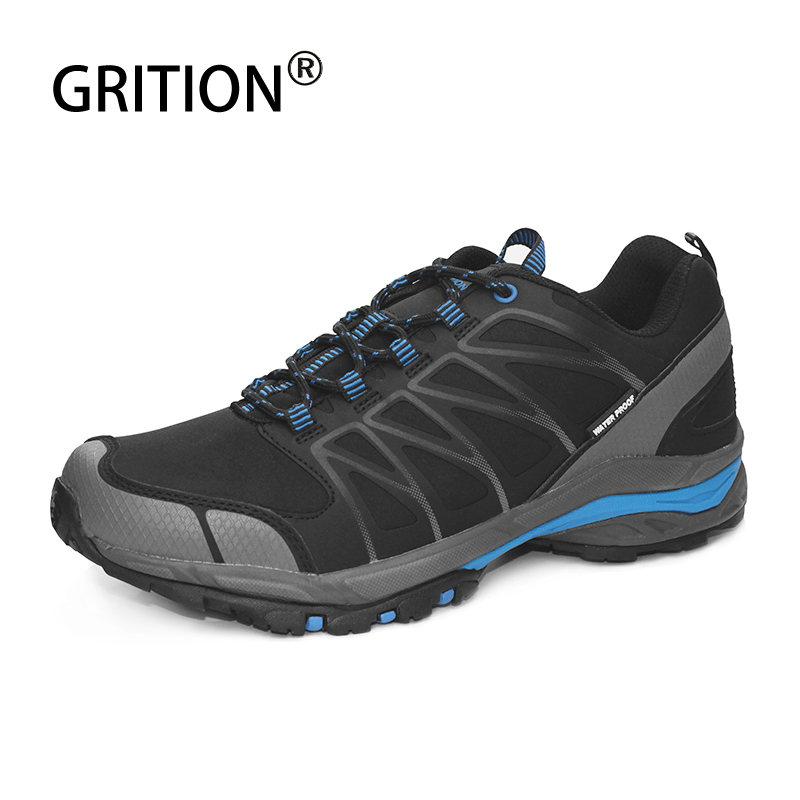 GRITION Men Waterproof Trekking Boots Lace up Mountain Climbing Shoes Non-slip Outdoor Winter Hiking Boots Large Size Shoes 2019 title=