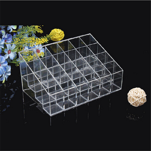 40 Lattice Trapezoid Plastic Transparent Makeup Display Rack Lipstick Stand Rack Cosmetic Organizer Holder Box High Quality 4