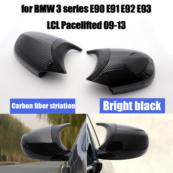 Carbon Fiber Pattern High Quality Facelifted Styling Rearview Mirror Cover Caps for BMW E90 E91 E92 E93 LCI M3 Style image