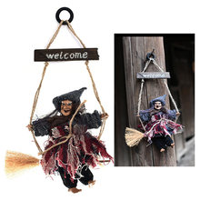 2pcs Witch Broom Costume Hanging Halloween Decoration Straw Broom Wizard Party Favors WP2 Witch Props For Stage Haunted House(China)