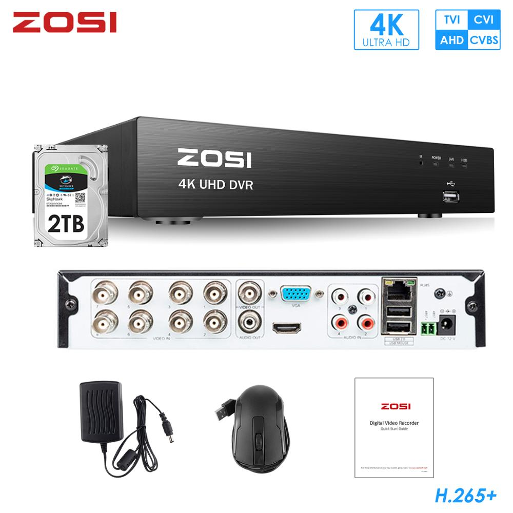 ZOSI 8CH H.265 4K 5MP 2MP 1080P 720P CVBS CVI TVI AHD Analog CCTV Surveillance Security System DVR Recorder